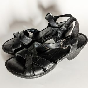 BORN Black Leather Clog Strappy Heel Sandals
